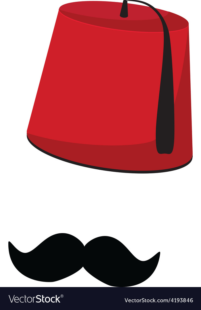 Turkish hat and mustache vector | Price: 1 Credit (USD $1)
