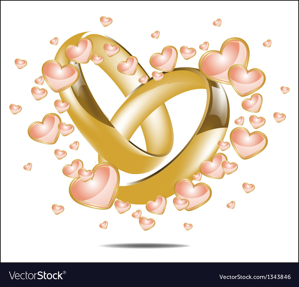 With wedding rings and hearts vector | Price: 1 Credit (USD $1)