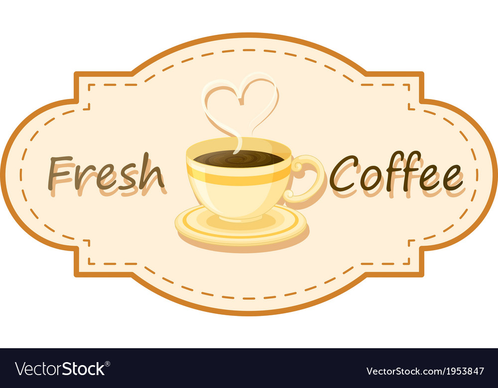 A fresh coffee logo with a cup of brewed coffee vector | Price: 1 Credit (USD $1)