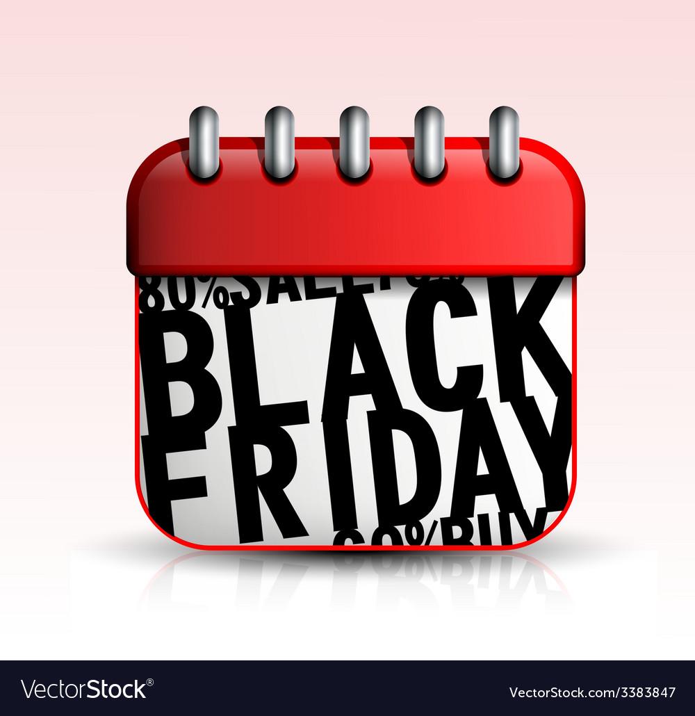 Black friday calendar icon vector   Price: 1 Credit (USD $1)