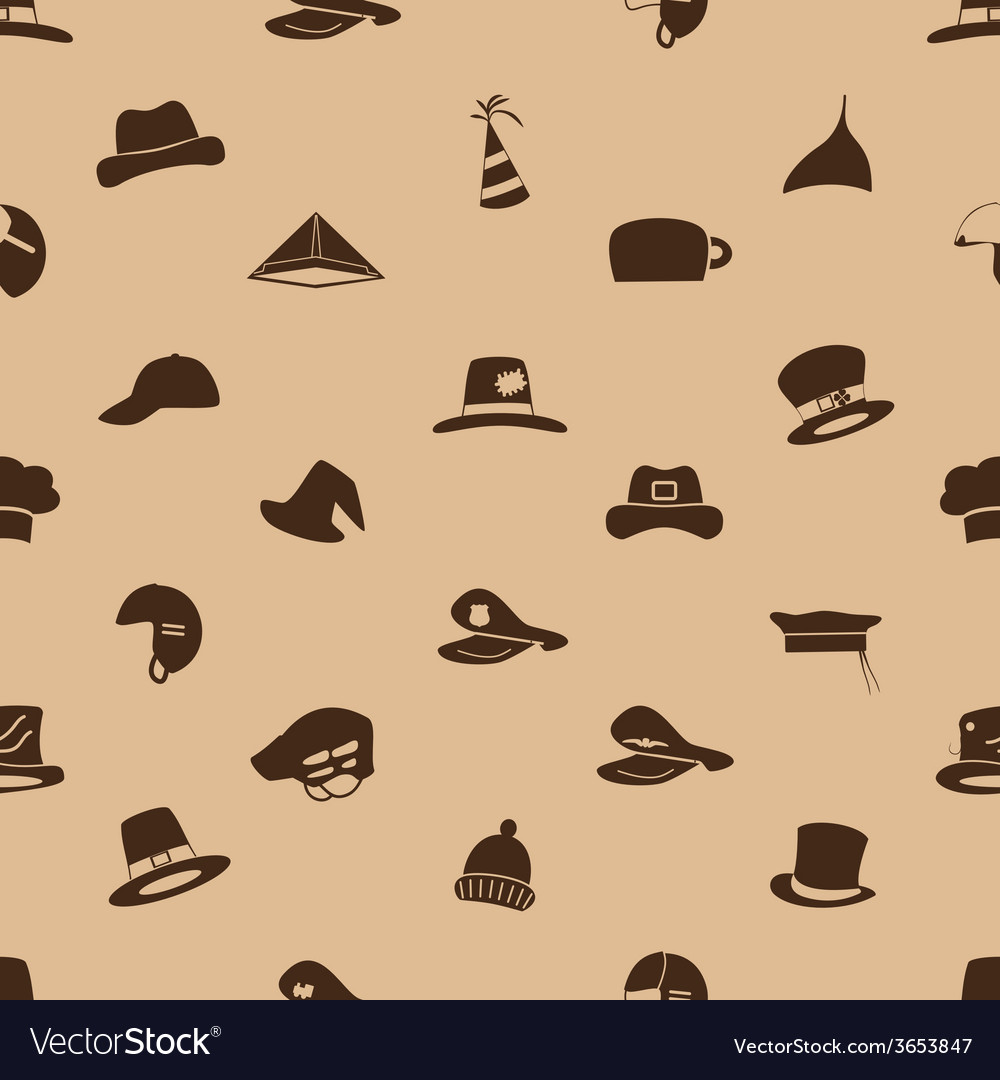 Brown hats icons set seamless pattern eps10 vector | Price: 1 Credit (USD $1)