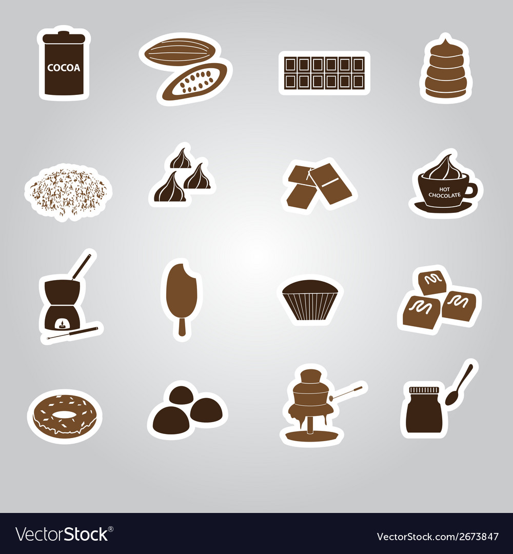 Chocolate stickers set eps10 vector | Price: 1 Credit (USD $1)