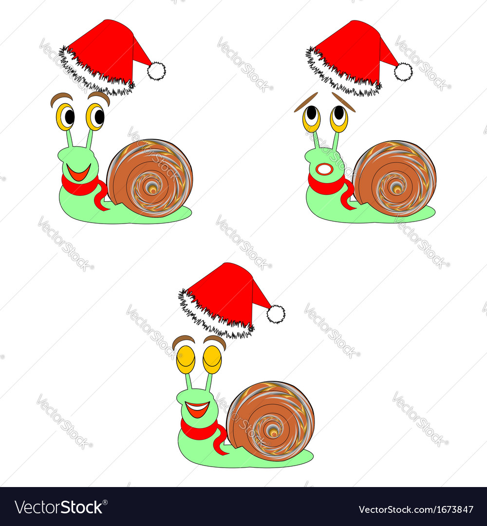 Christmas snails with different facial expressions vector | Price: 1 Credit (USD $1)