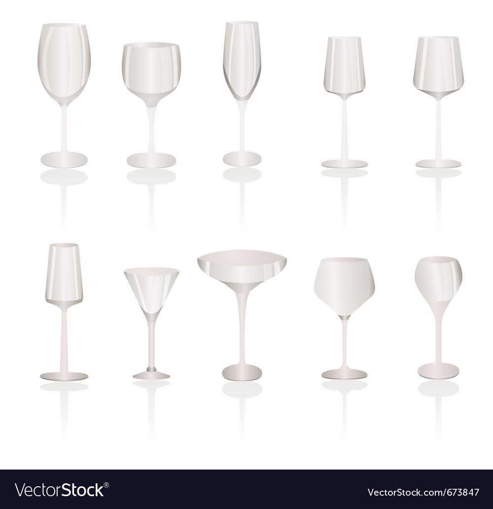 Different kind of wine glasses vector | Price: 1 Credit (USD $1)