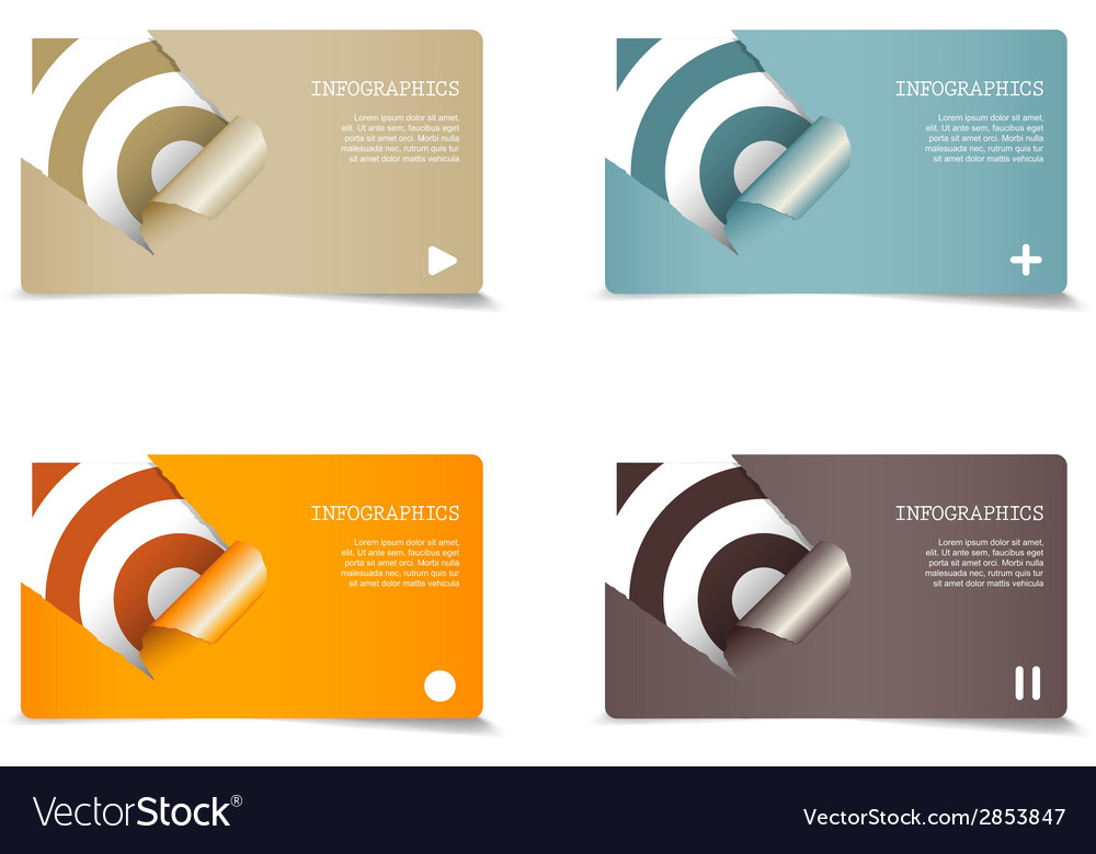 Four colored paper notes with place for your own vector | Price: 1 Credit (USD $1)