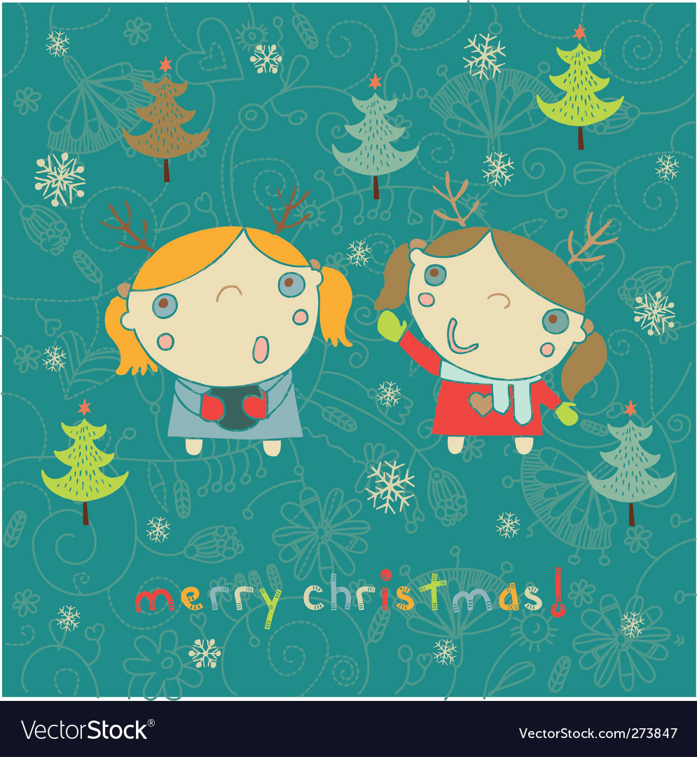 Kids christmas card vector   Price: 1 Credit (USD $1)