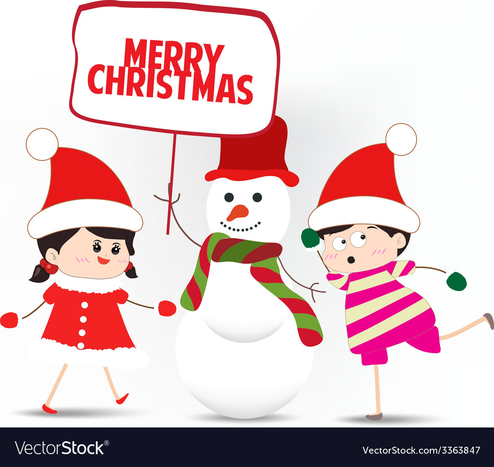 Kids playing with snowman holding board vector   Price: 1 Credit (USD $1)