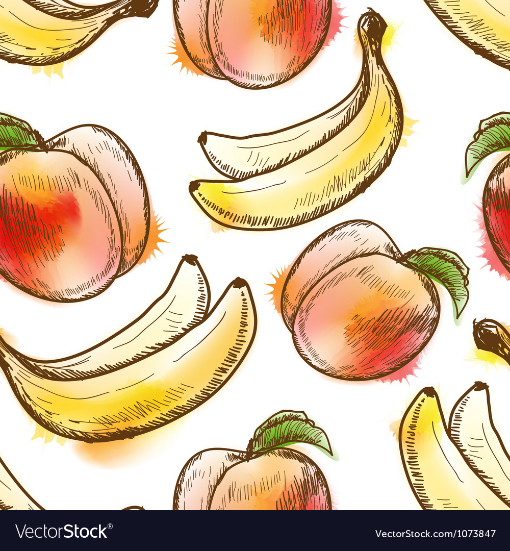 Seamless pattern with peach and banana vector | Price: 1 Credit (USD $1)