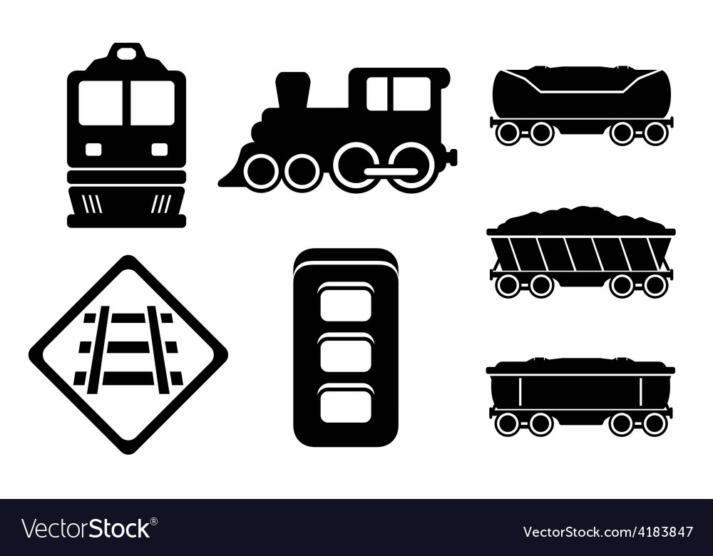 Set rail road black silhouette vector | Price: 1 Credit (USD $1)