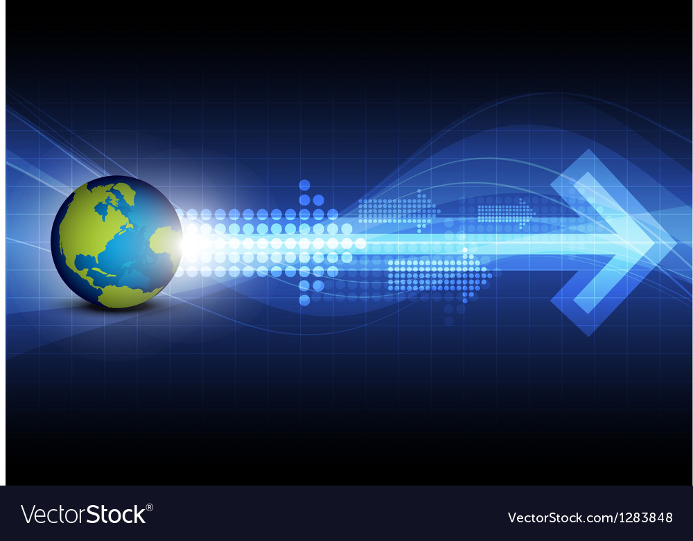 Arrow with global technology background vector | Price: 1 Credit (USD $1)