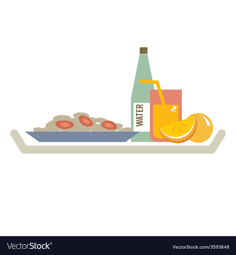 Food in plate with orange juice and water bottle vector | Price: 1 Credit (USD $1)