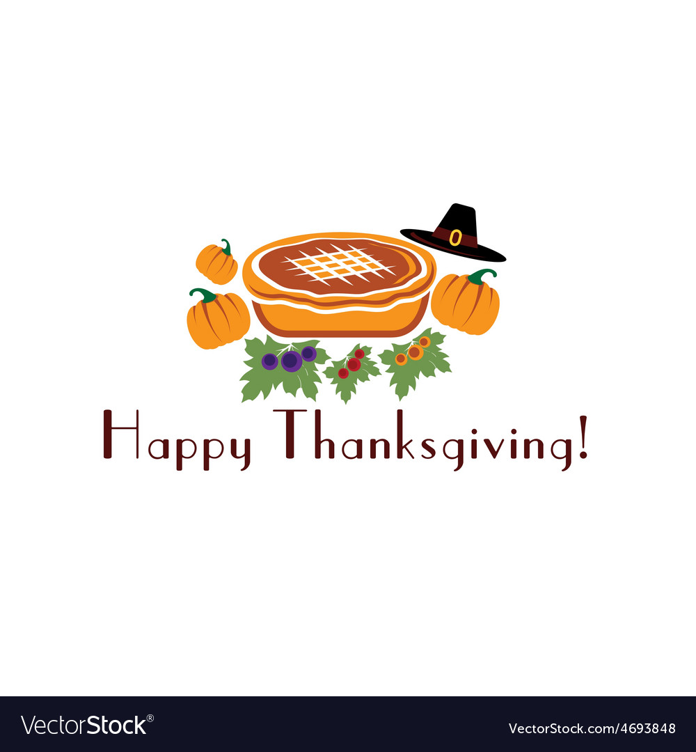 Happy thanksgiving with pie pilgrim hat and vector | Price: 1 Credit (USD $1)