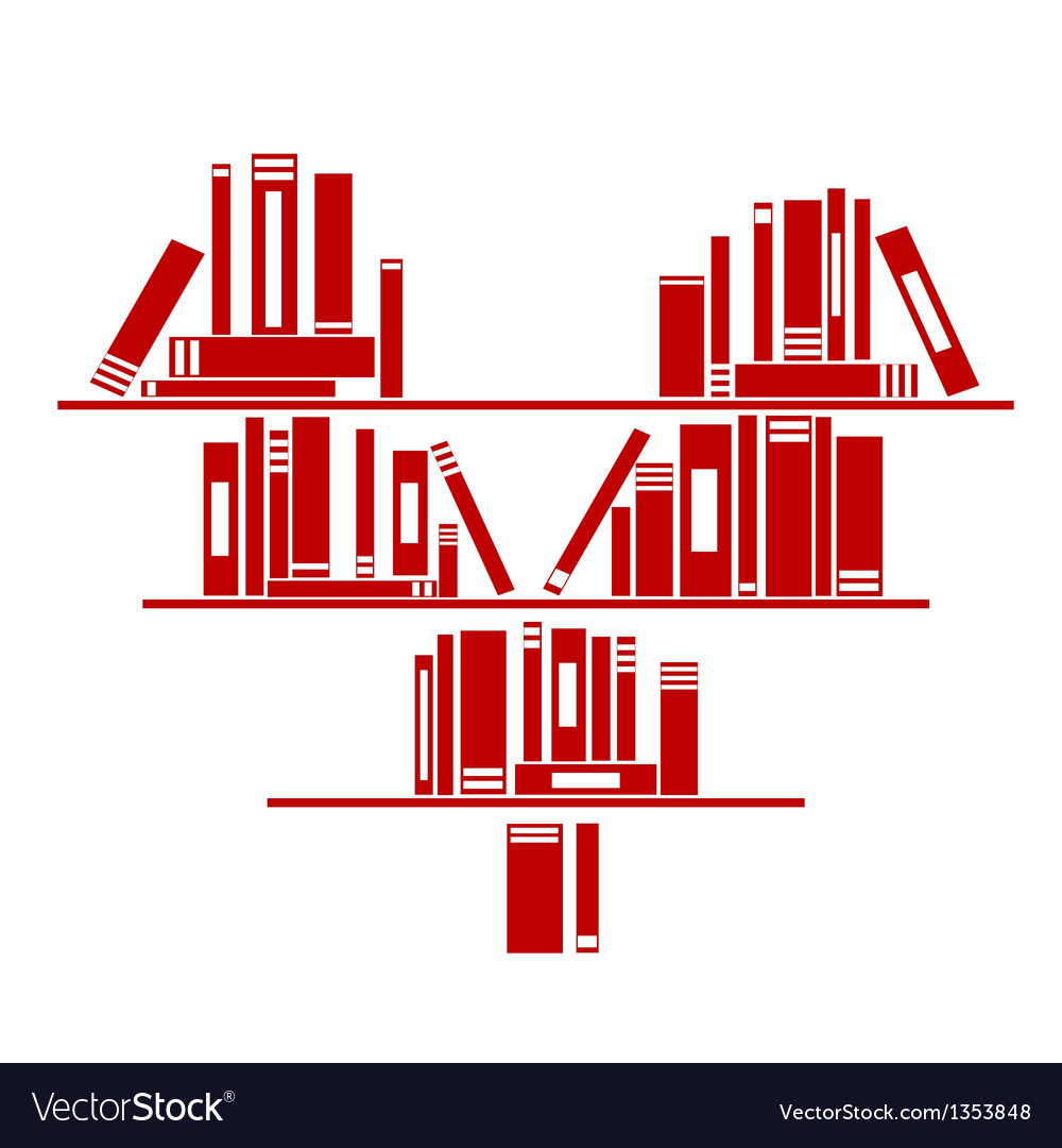 Heart shaped book shelf with books vector | Price: 1 Credit (USD $1)