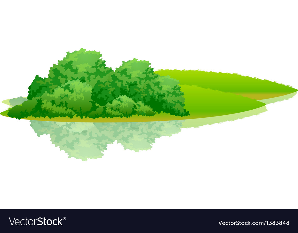 Icon bush on the green hill vector | Price: 1 Credit (USD $1)