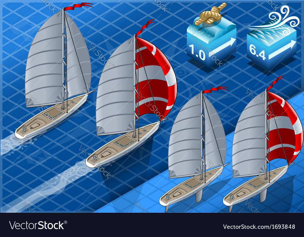 Isometric sailships in navigation vector | Price: 1 Credit (USD $1)