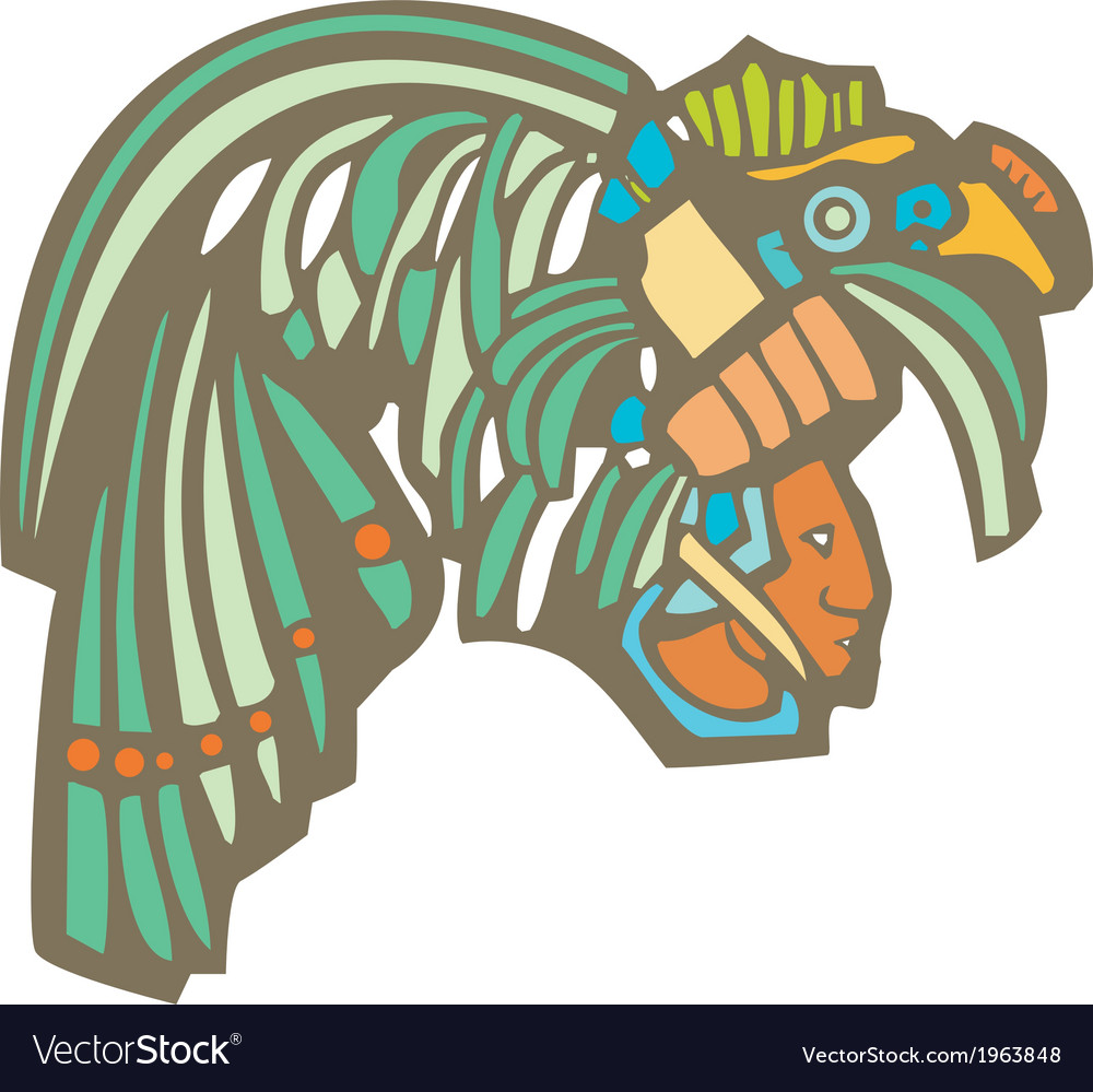 Mayan warrior head vector | Price: 1 Credit (USD $1)
