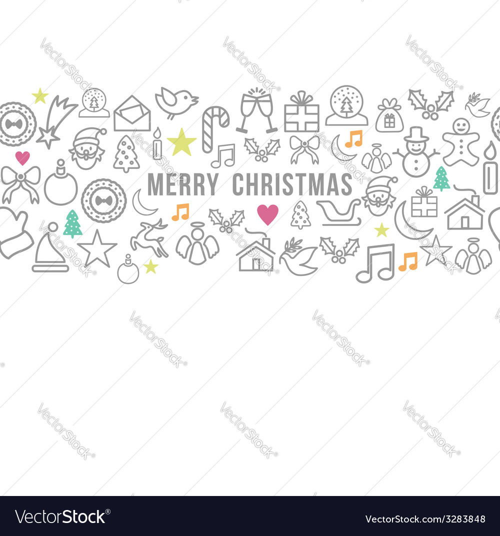 Merry christmas pattern outline icons set card vector | Price: 1 Credit (USD $1)