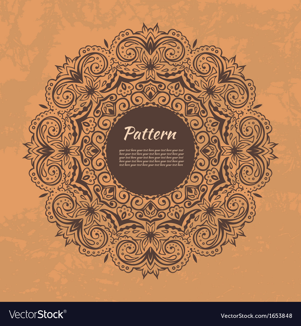Ornamental circle template with floral background vector   Price: 1 Credit (USD $1)