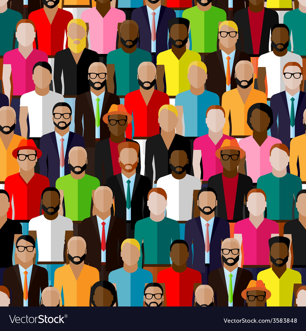 Seamless pattern with a large group of guys and vector | Price: 1 Credit (USD $1)