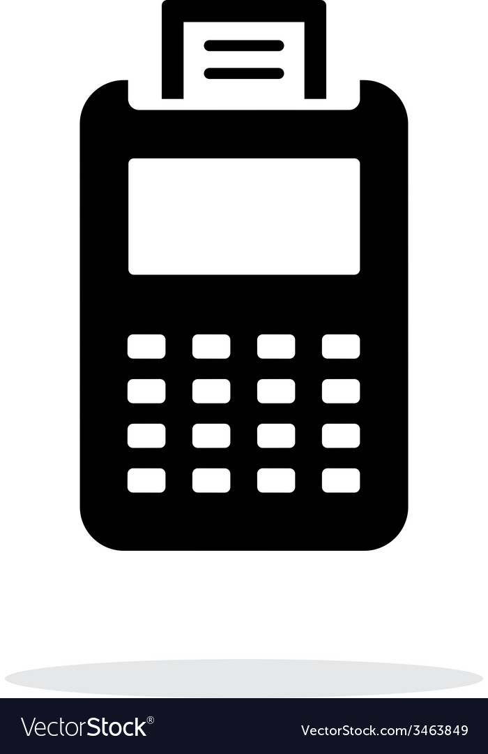 Billing machine icon on white background vector | Price: 1 Credit (USD $1)
