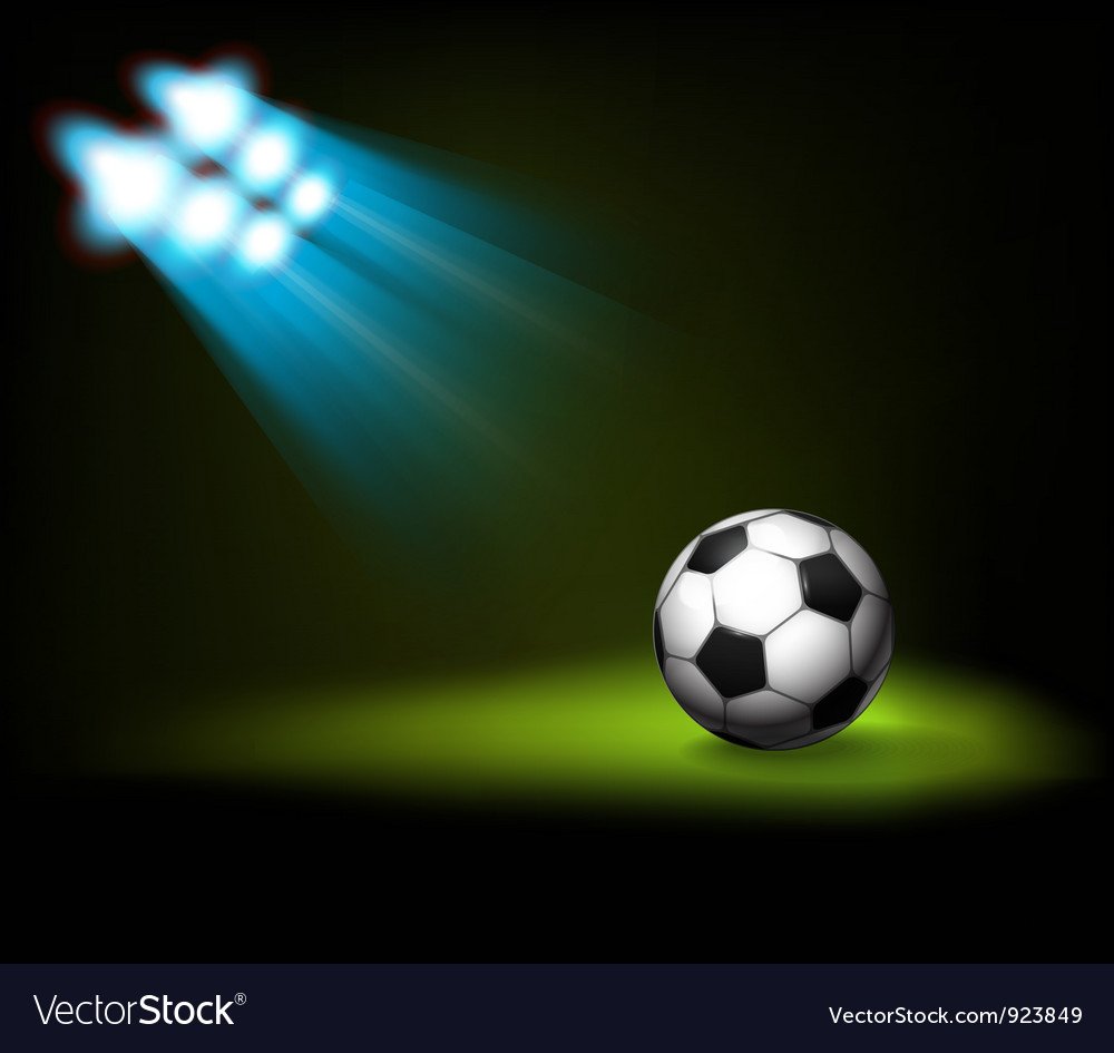 Bright spot lights and illuminated soccer football vector | Price: 1 Credit (USD $1)