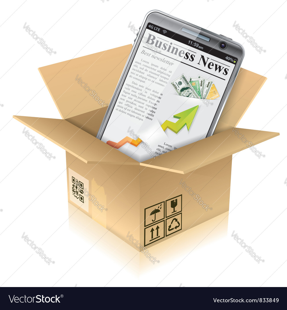 Cardboard box with smart phone vector | Price: 3 Credit (USD $3)