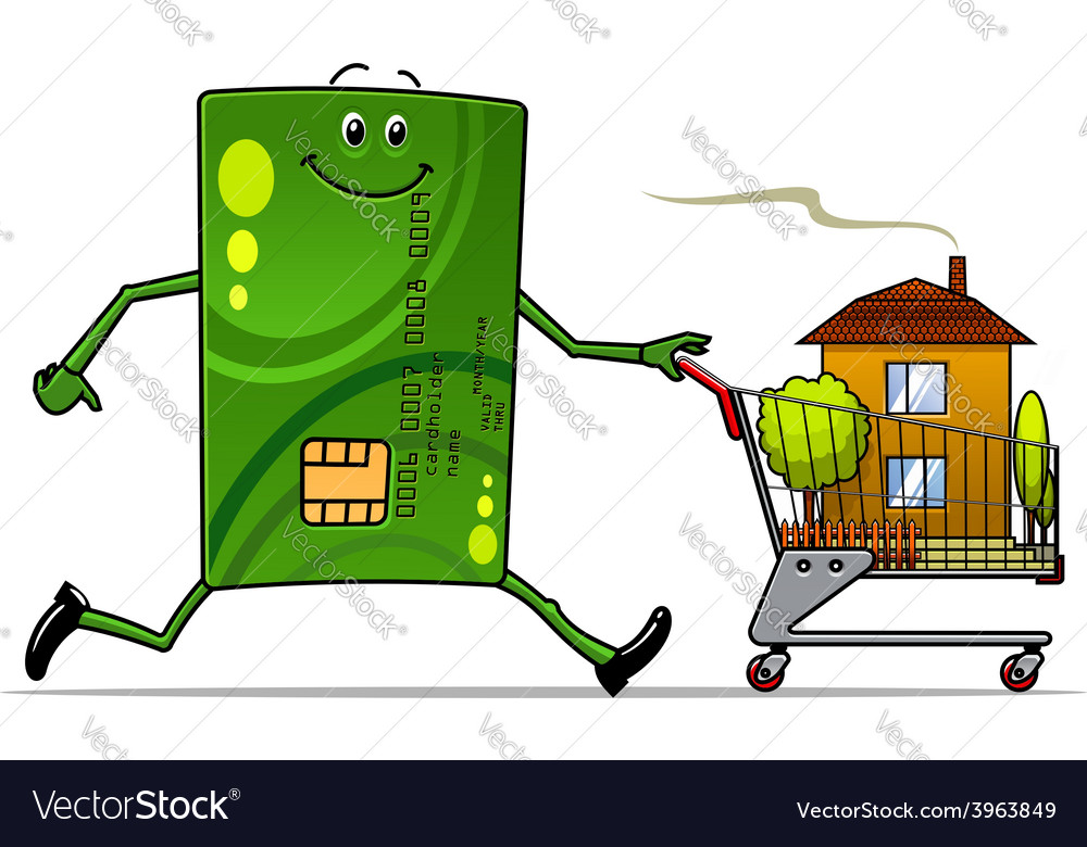 Cartoon credit card pushing a cart with house vector | Price: 1 Credit (USD $1)