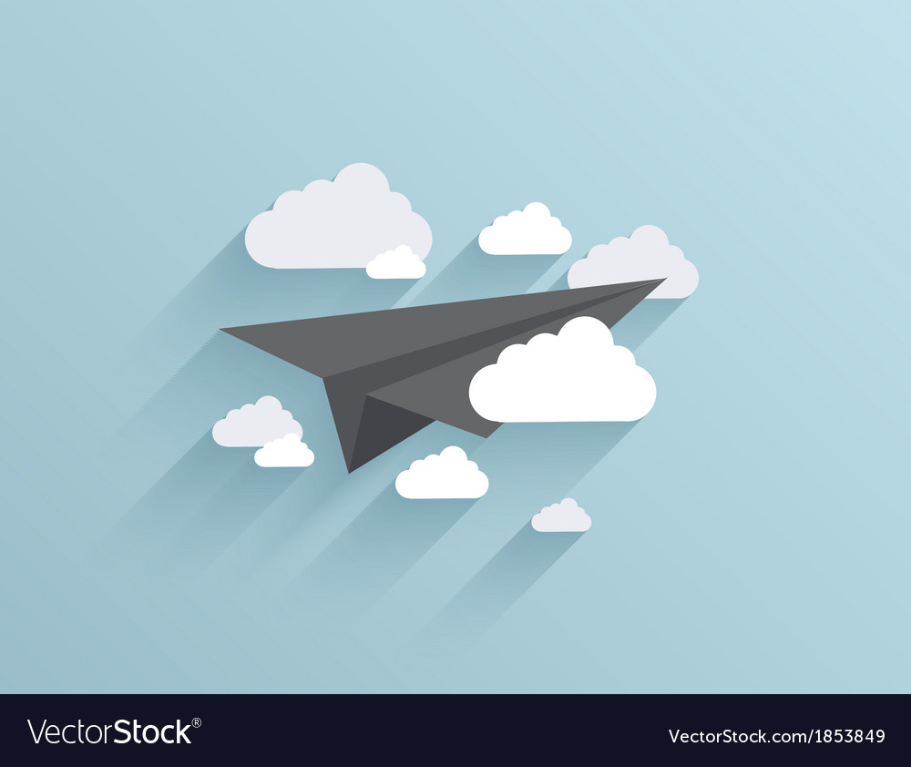 Flat origami airplane icon background vector | Price: 1 Credit (USD $1)
