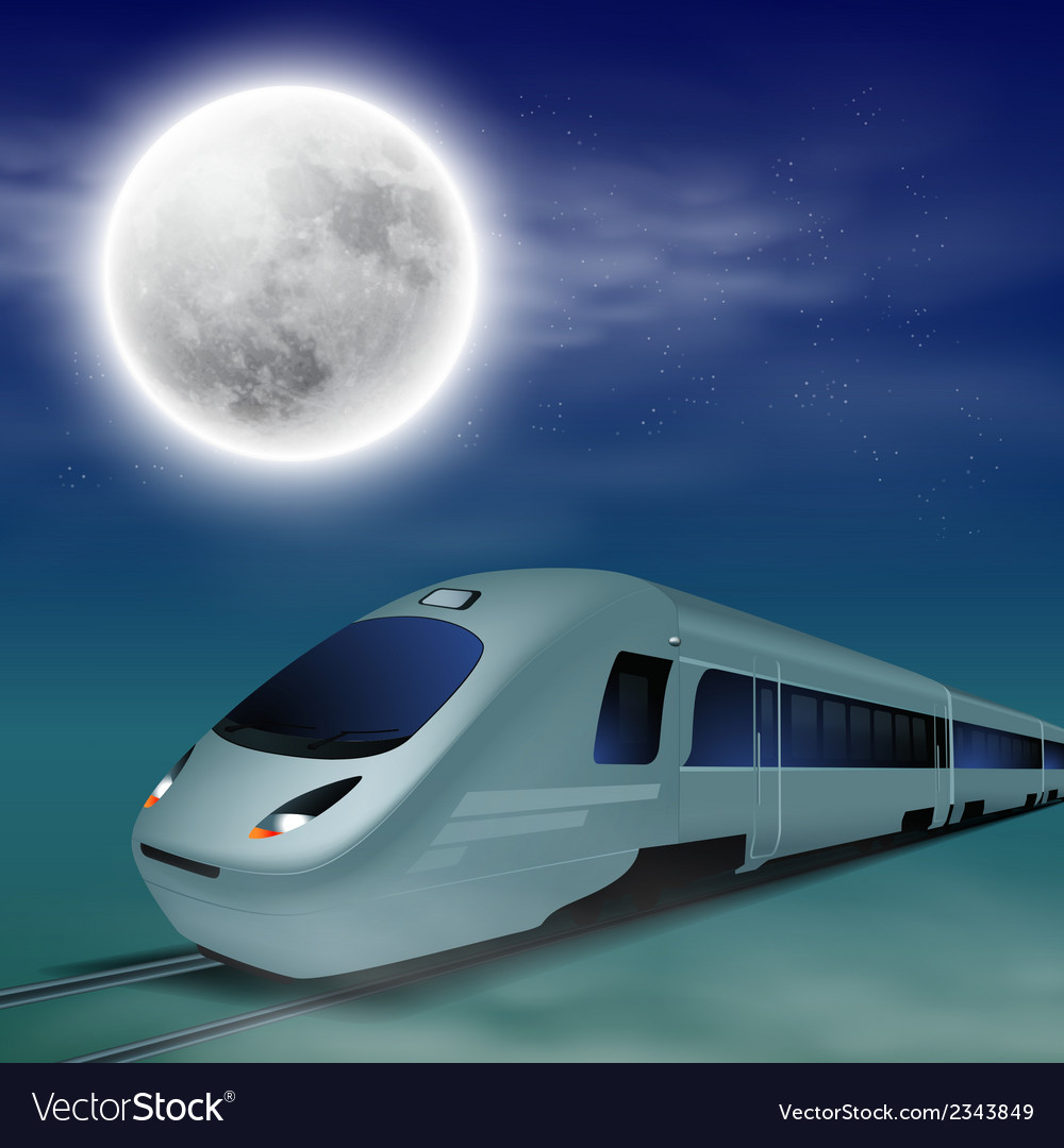 High-speed train at night with full moon vector | Price: 1 Credit (USD $1)