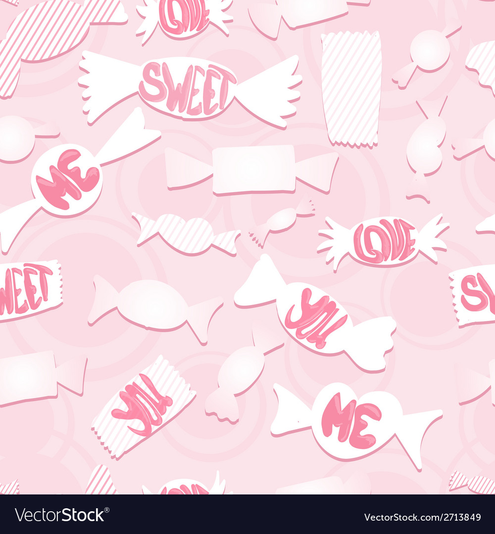 Sweets with love ordsseamless background vector | Price: 1 Credit (USD $1)