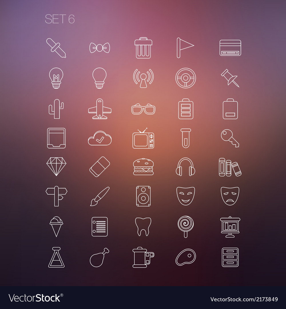Thin icon set 6 vector | Price: 1 Credit (USD $1)
