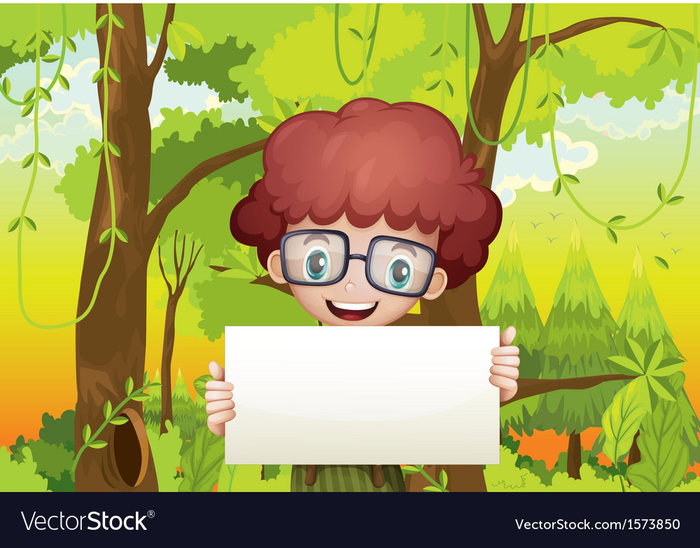 A forest with a young boy holding an empty signage vector | Price: 3 Credit (USD $3)