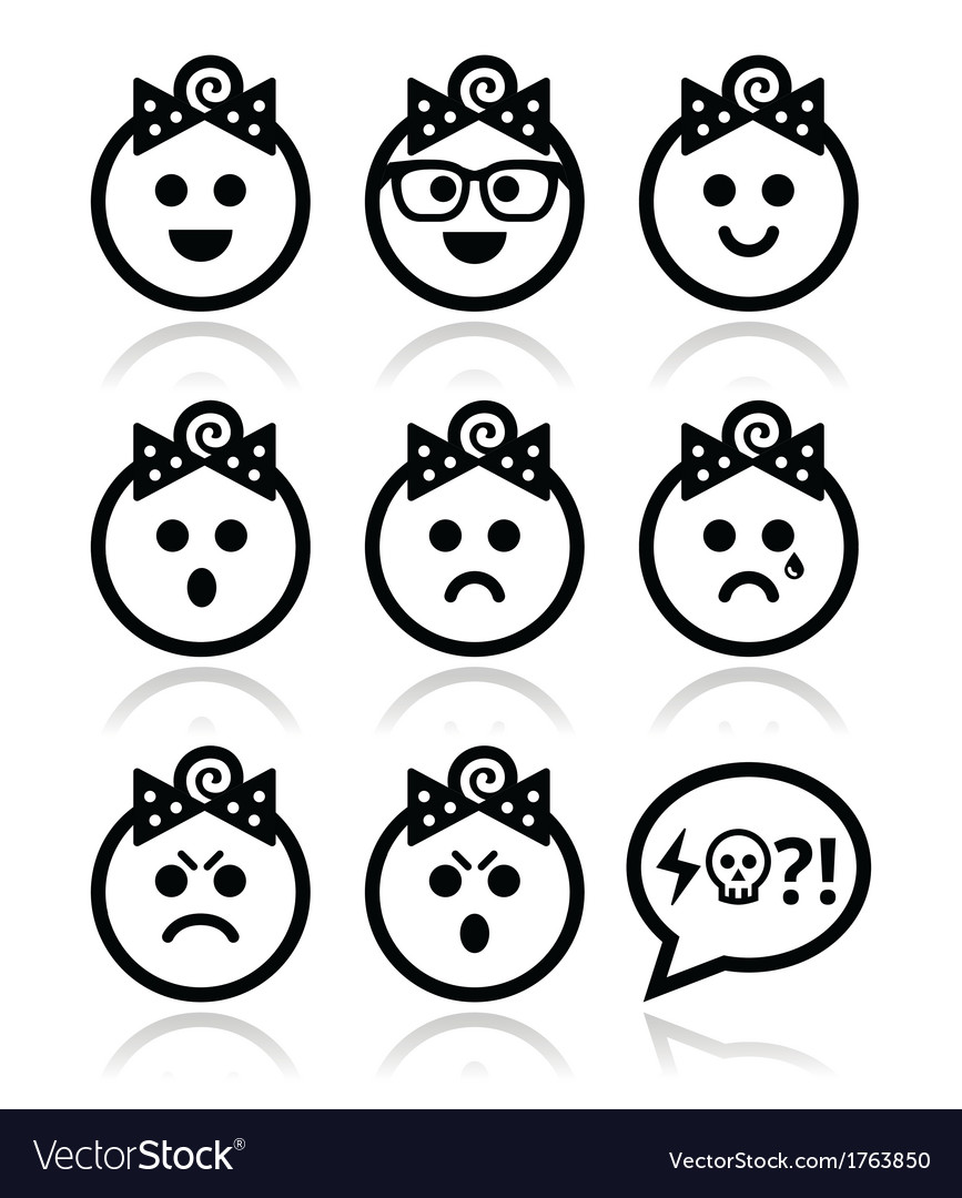 Baby girl faces avatar icons set vector | Price: 1 Credit (USD $1)