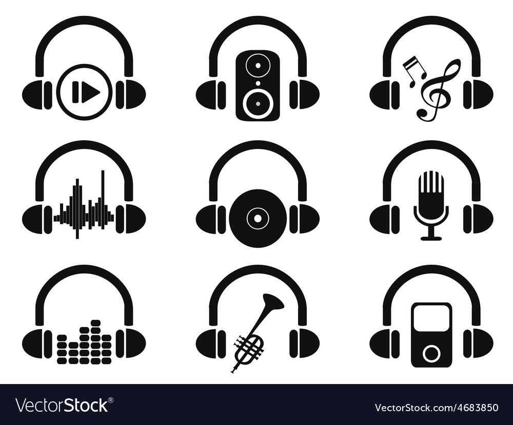 Black headphone with music icons set vector