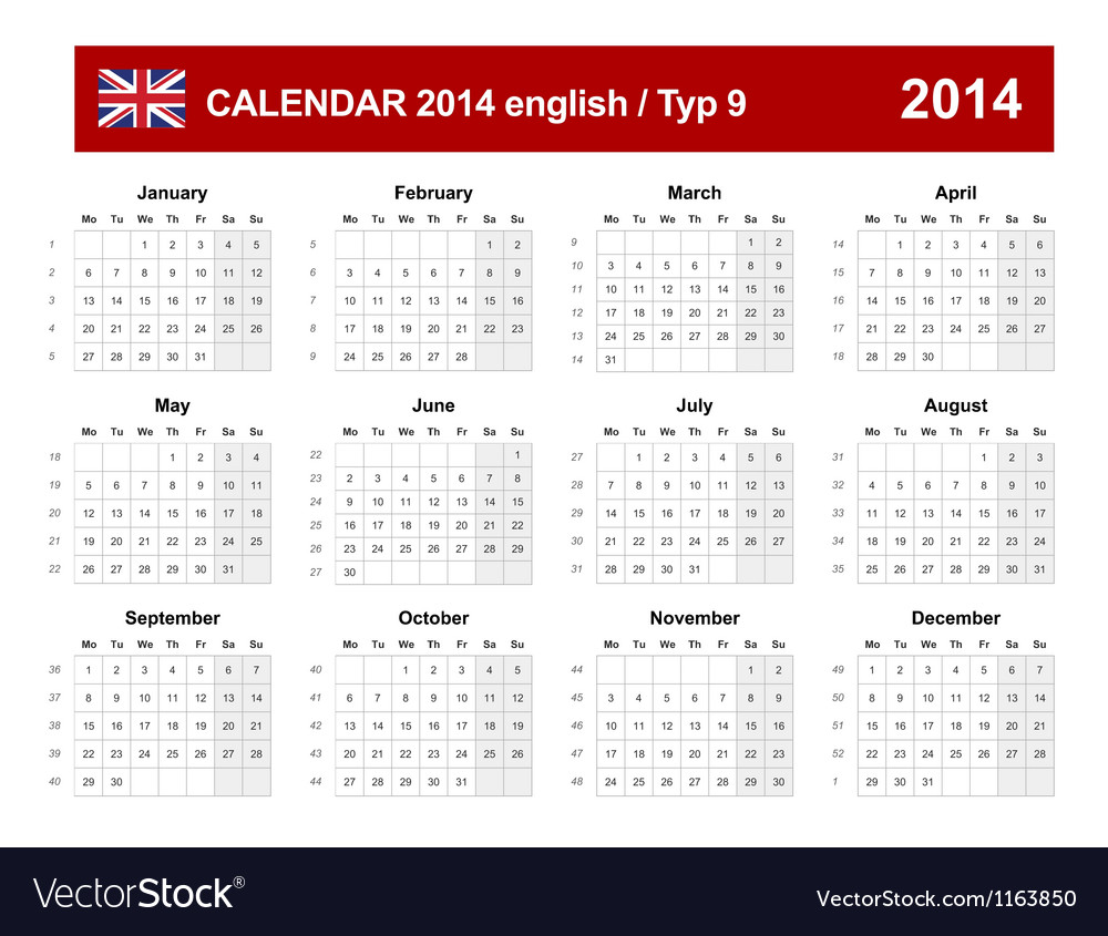 Calendar 2014 english type 9 vector | Price: 1 Credit (USD $1)