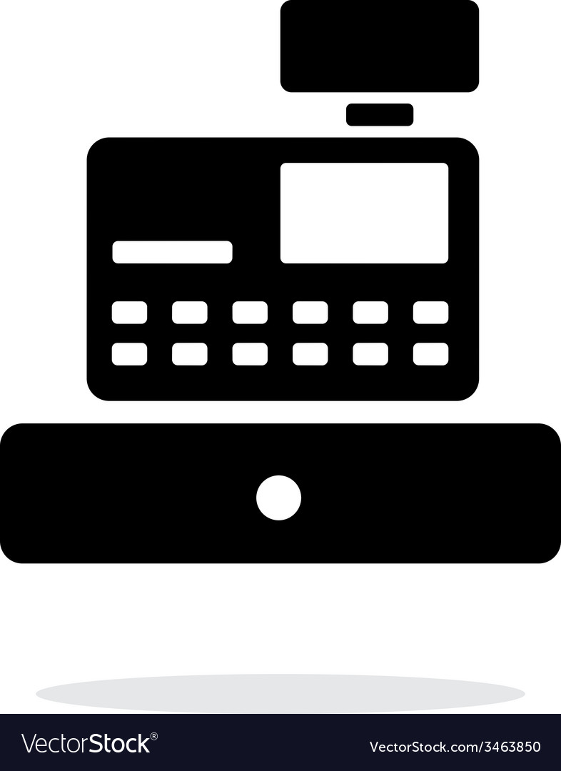 Cash register machine icon on white background vector | Price: 1 Credit (USD $1)