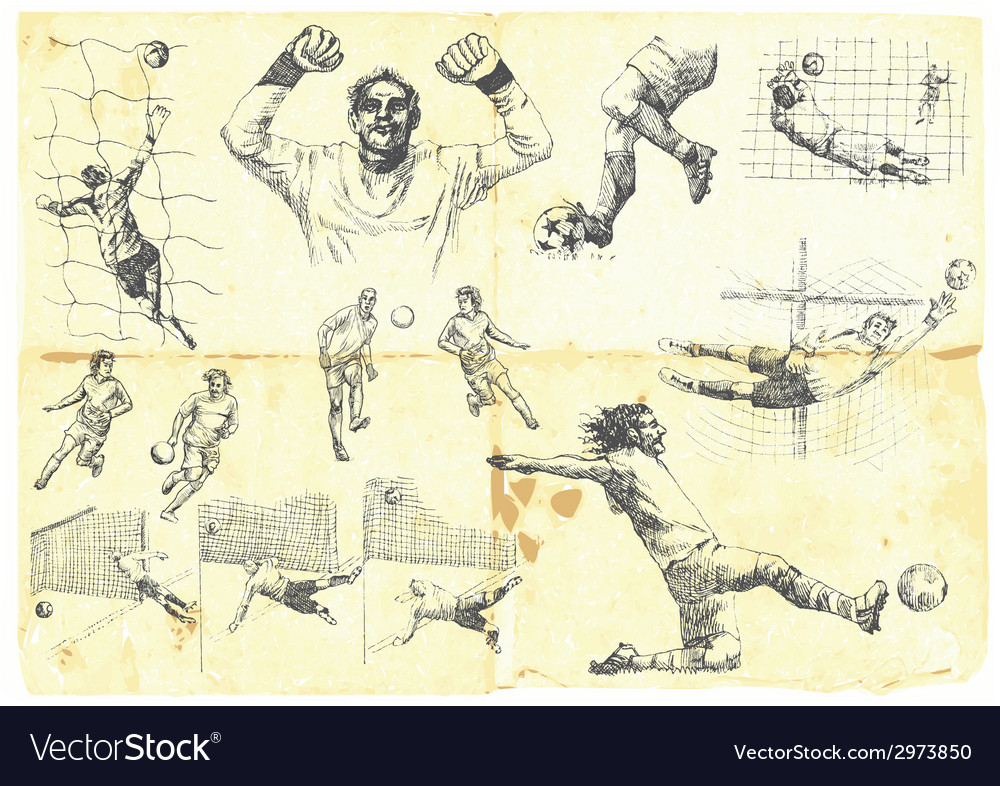 Football set collection of soccer players vector   Price: 1 Credit (USD $1)