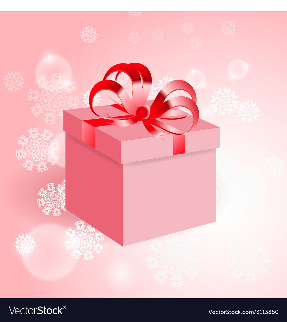 Gift with red bow on background with snowflake vector | Price: 1 Credit (USD $1)