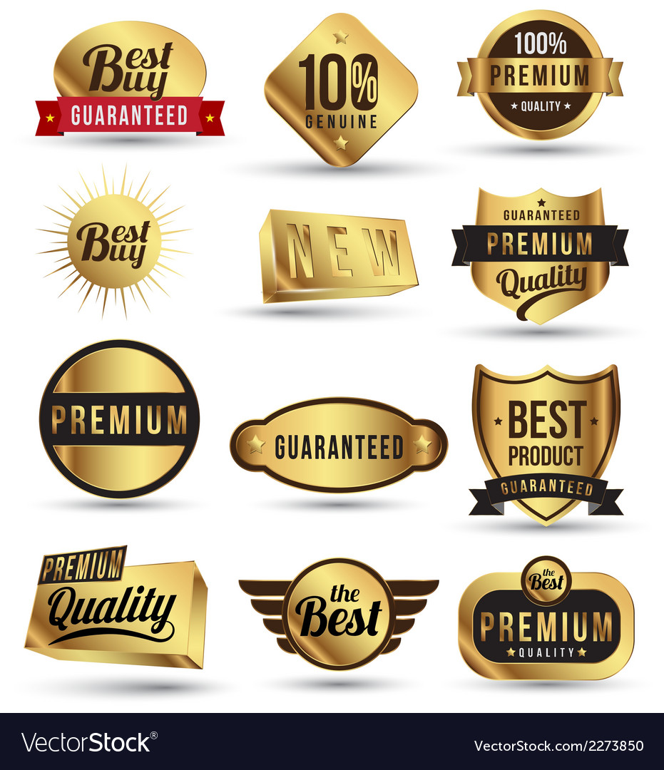 Gold badges set promotion guarantee vector | Price: 1 Credit (USD $1)