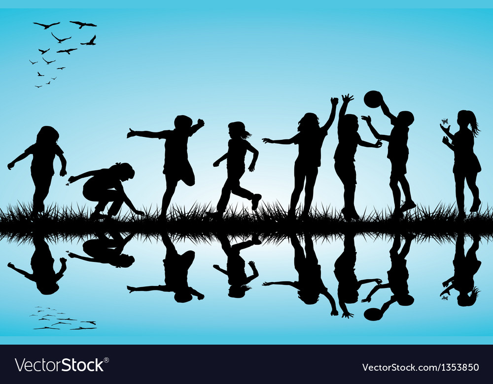 Group of children silhouettes playing outdoors vector | Price: 1 Credit (USD $1)