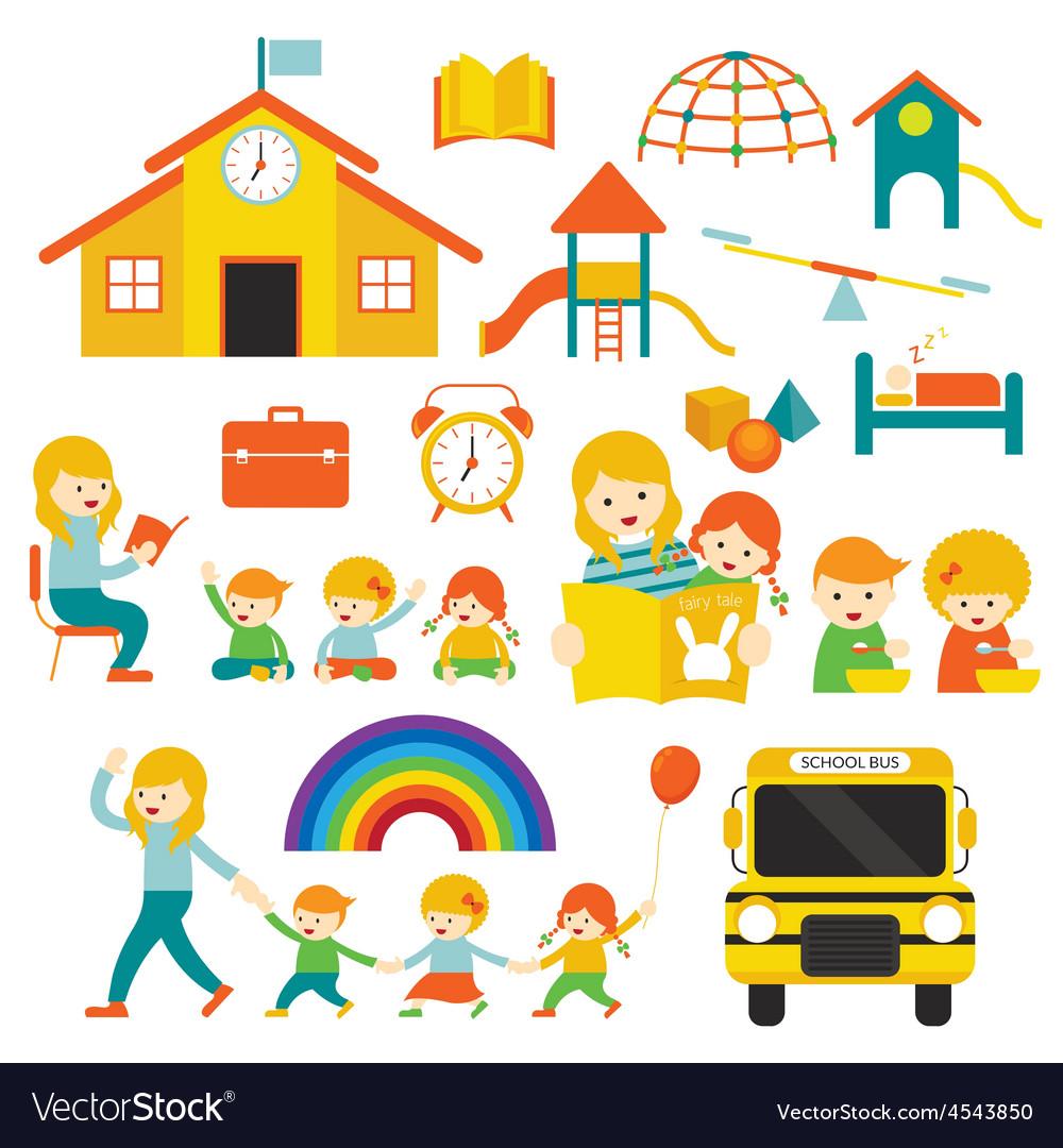 Kindergarten preschool teacher and kids set a vector | Price: 1 Credit (USD $1)