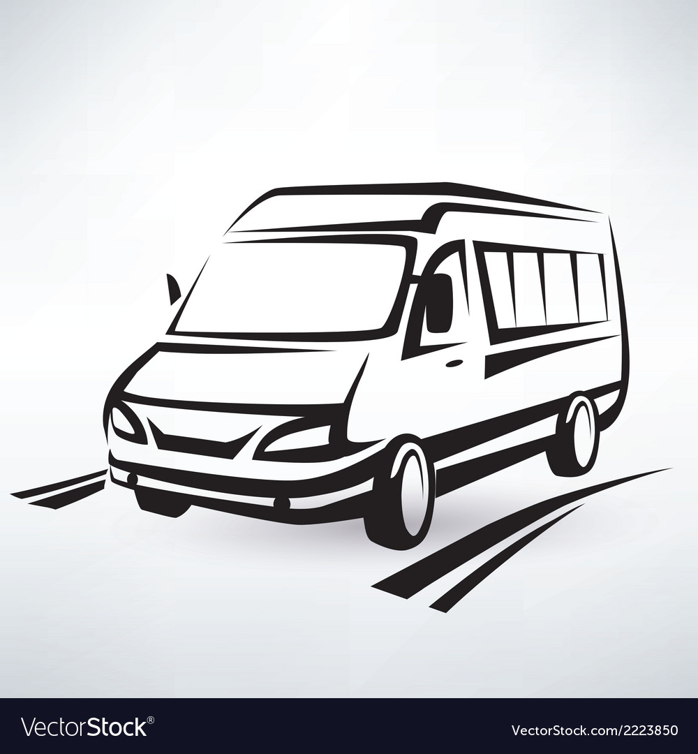 Mini van outlined sketch isolated symbol vector | Price: 1 Credit (USD $1)