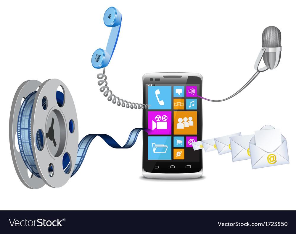 Modern phone3 vector | Price: 1 Credit (USD $1)