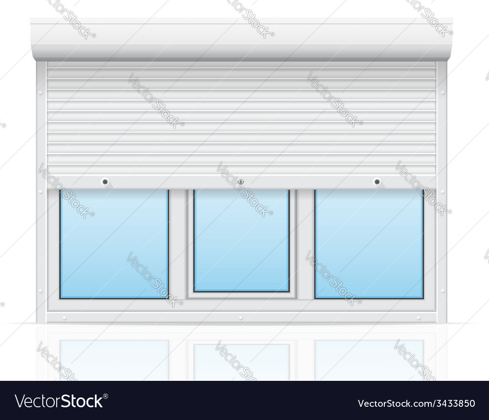 Plastic window with rolling shutters 04 vector | Price: 1 Credit (USD $1)