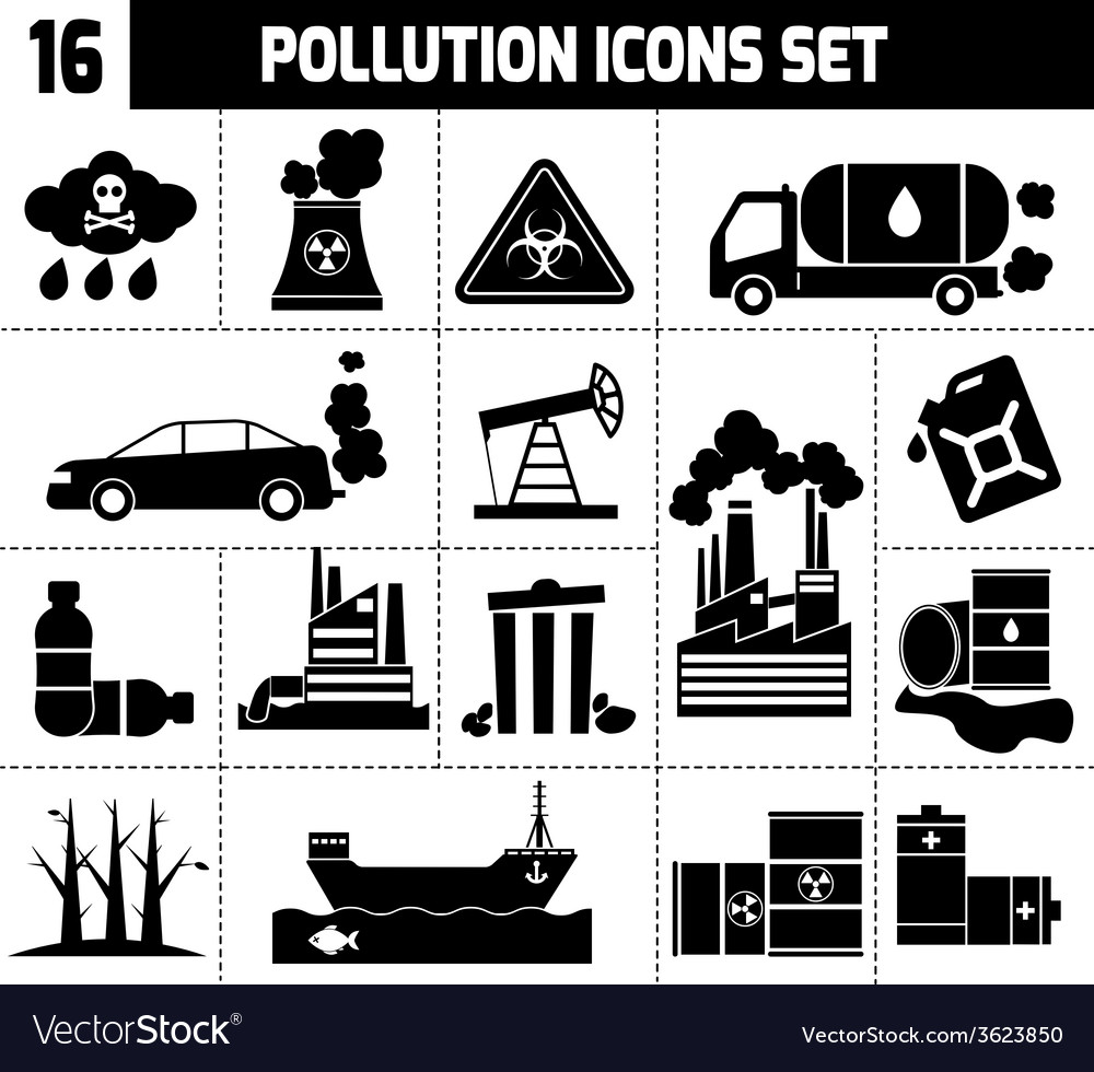 Pollution icons black vector | Price: 1 Credit (USD $1)