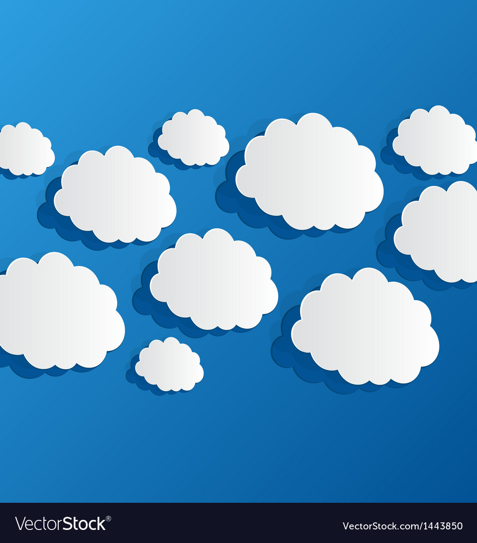 Set cut out clouds blue paper vector | Price: 1 Credit (USD $1)