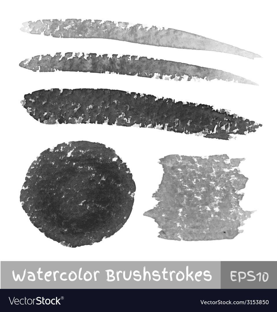 Set of gray watercolor brush strokes vector | Price: 1 Credit (USD $1)