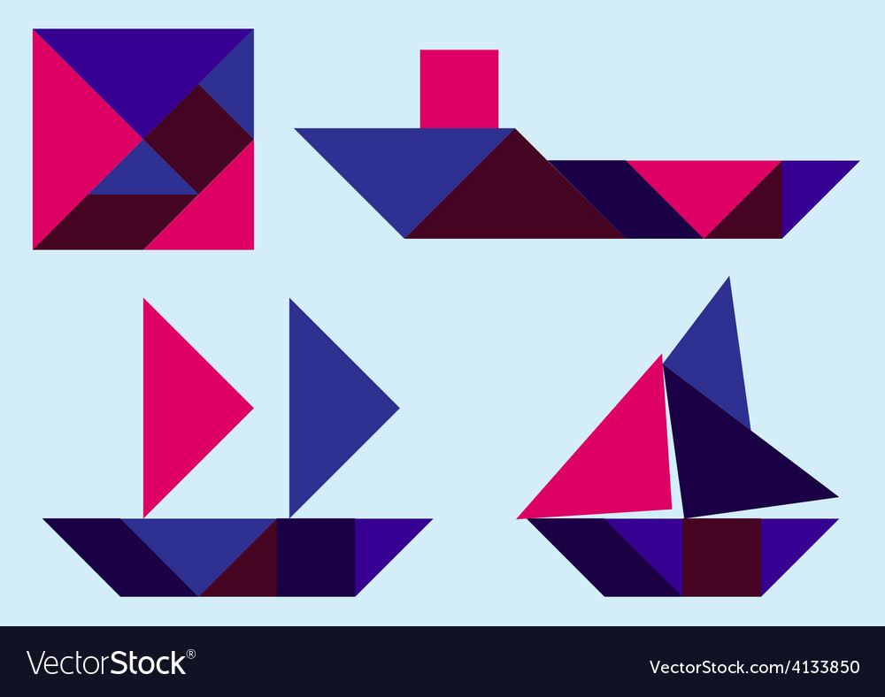 Tangram ship vector