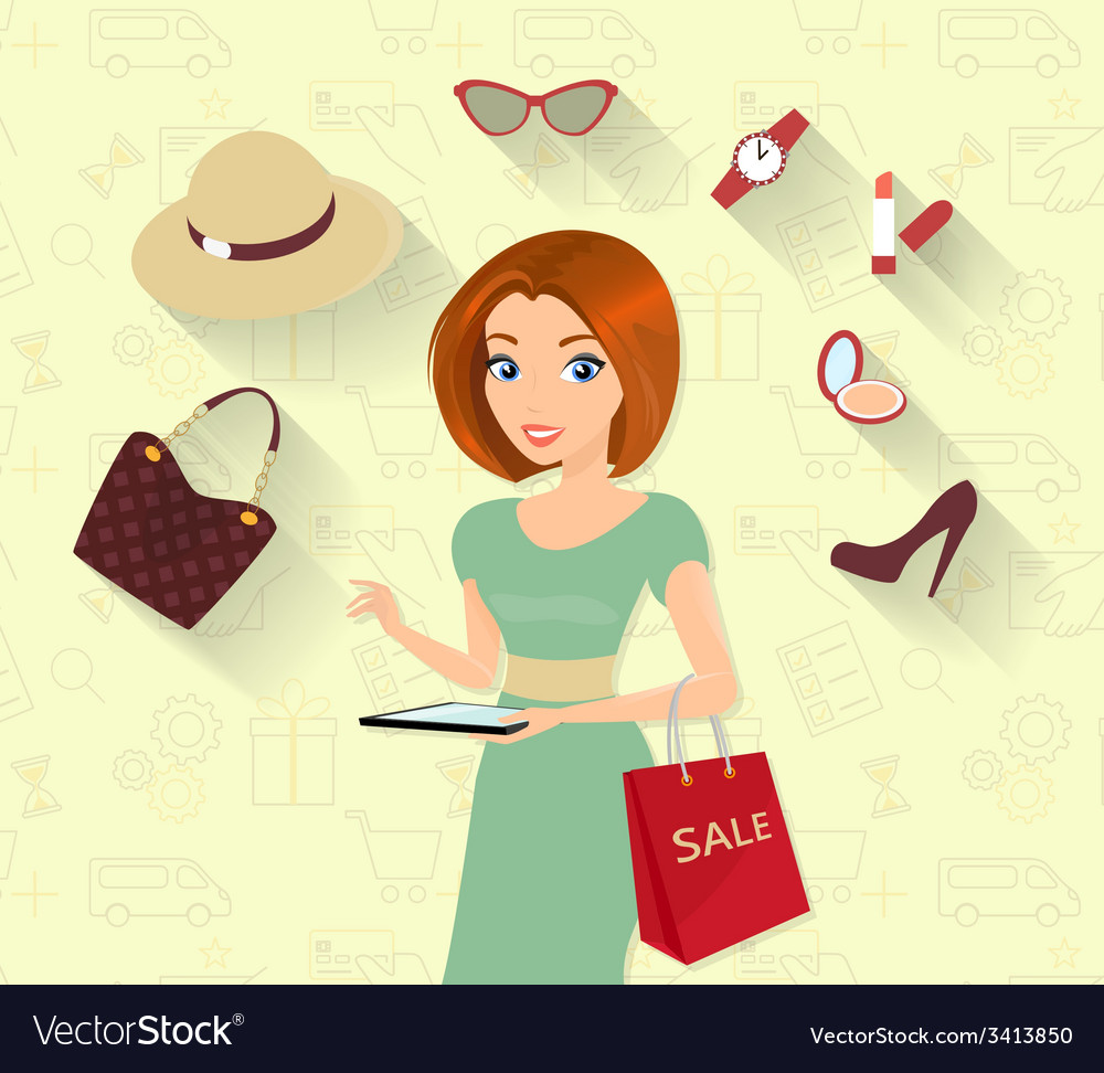 Woman doing online shopping vector | Price: 1 Credit (USD $1)
