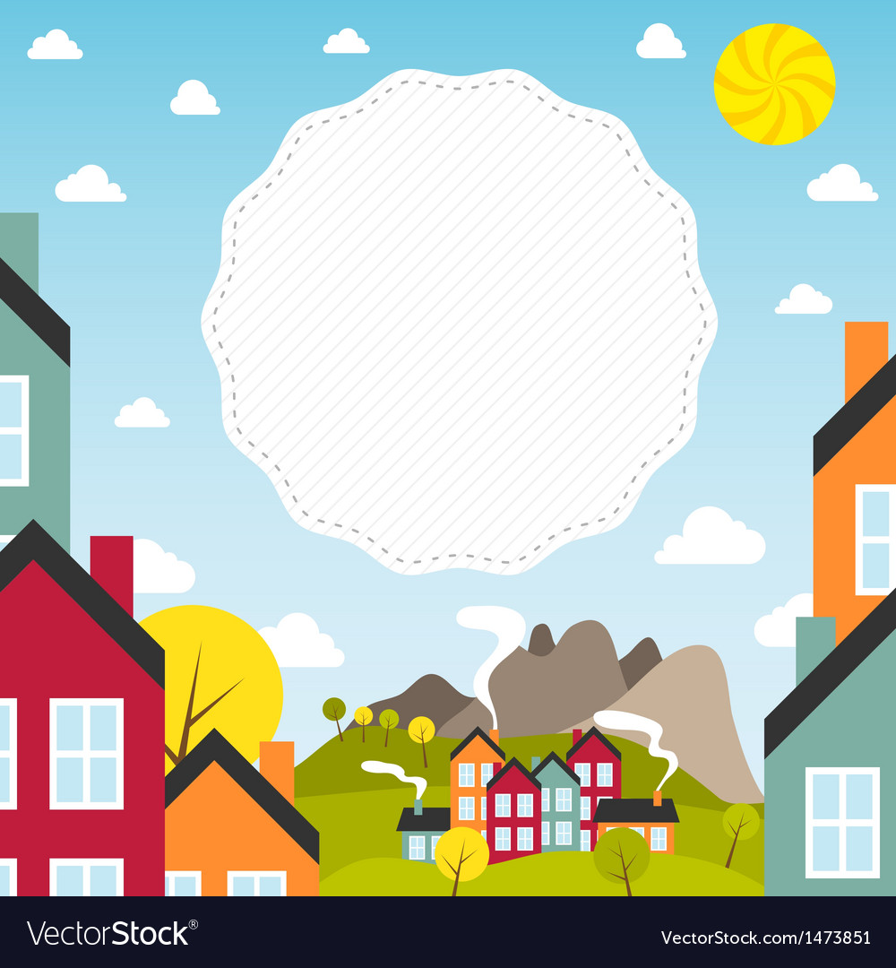 Banner with small town vector   Price: 1 Credit (USD $1)